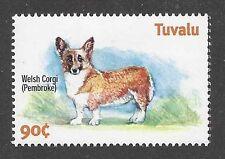 Dog Art Body Study Portrait Postage Stamp Pembroke Welsh Corgi Tuvalu Mnh