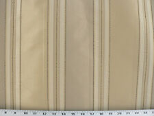 """Drapery Upholstery Fabric 110"""" W Yarn Dyed Faux Silk Stripe - Gold/Taupe/Ivory"""