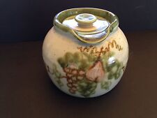 Vtg John B Taylor-Louisville Harvest Pattern Stoneware Bean Pot w/ Lid Pitcher