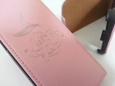 Nokia Lumia 520 LITTLE MERMAID GENUINE LEATHER pink flip phone case cover