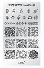 KONAD XL Square 28 Stamping Schablone Plate Nailart Nageldesign