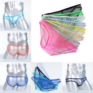 Men's Sexy Briefs Boxer Underwear Breathable Transparent Underpants 12 Colors