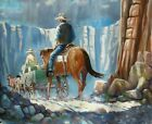 Dale Goss Impressionist Cowboys with Horses & Wagon in Canyon Oil Painting #2 NR