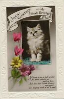 BIRTHDAY - Cat and Flowers Joyous Greetings