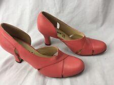 GIRAUDON Heels Womens Peach Sz 39 8 M Leather open side round toe