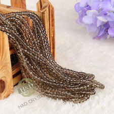 1500PCS Smoky Quartz Crystal Faceted Rondelle Loose Beads DIY Jewelry Making 4mm