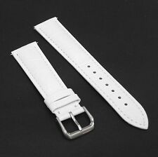 White Genuine Leather Watch Strap Band 18mm