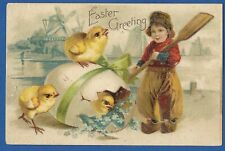 Antique Easter greeting postcard, Dutch boy with chicks, used 1908