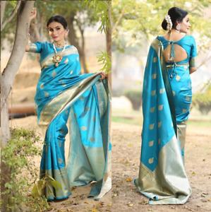 Indian kanchipuram silk saree pakistani Designer ethnic formal party blue sari