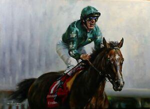 Graham ISOM original oil on canvas DETTORI winning the 2007 Derby on Authorized