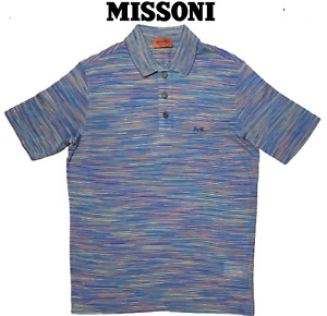 Missoni Men's Multi-Striped Navy Blue Fine Cotton Polo Shirt New Without Tags