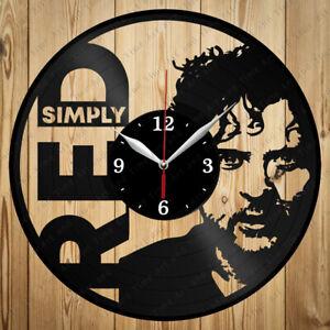 Vinyl Clock Simply Red Handmade Vinyl Record Clock Art Home Decor Original 4867