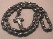 Christian Rosary Oval Wood Beads Silver Imprint Crucifix Necklace BLACK Wow!
