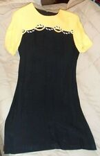 Betsy's Things Acetate/Rayon Yellow/Black Dress Size 14