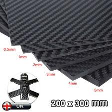 300mm x 200mm 1mm 1.5mm 2mm 3mm 4mm 5mm Carbon Fiber Fibre Board Sheet  UK