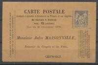 1877 CP Précurseur privée Fêtes du Club Alpin 15c SAGE N/U gris Neuf RR P2833
