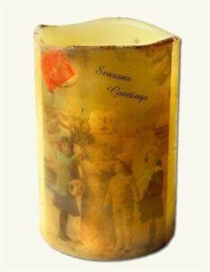 Victorian Trading Co Seasons Greetings Snowman Candle Circa 1898 40b