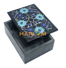 "4""x3""x2"" Black Marble Jewelry Box Turquoise Marquetry Inlay Birthday Gifts J011"