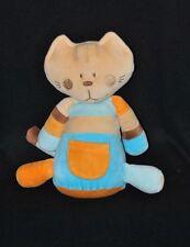 Peluche doudou chat beige bébé BEBE CONFORT bleu orange poche grelot 27 cm TTBE
