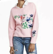H&M Women's Size M Pink La Botanique Floral Embroidered Slouchy Sweater