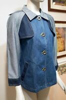 NWT $139 Chico's Colorblock3/4-Sleeve Denim Pieced Jacket, Blue, Multiple Sizes!