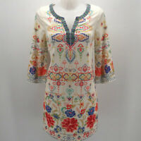 Champagne & Strawberries Ivory Print Long Sleeve Dress Size Small
