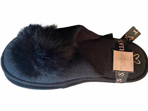 Victoria Secret Women's Black Slippers Size 9/10 NWT