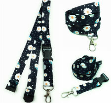 DASIES IN BLACK Long Lanyard As Neck Strap Holder for keys, badge, Id card etc