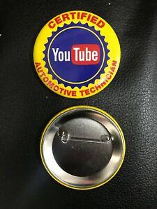 Novelty tin badge 57mm ' youtube auto technician ' hot rod Chevrolet ford VW