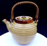 "STUDIO ART POTTERY TAN AND BROWN WOOD HANDLE 6"" RINGED TEAPOT"