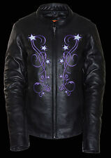 WOMEN'S MOTORCYCLE LEATHER JACKET W/REFLECTIVE STAR IN BLCK & PURPLE 4 VENTS