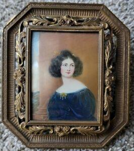 Antique English Regency Woman Miniature Portrait Painting 19th Century SIGNED