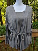 "Studio Works Women's Size 2X ""2fer"" Long Sleeve Metallic Blouse Shirt Top"