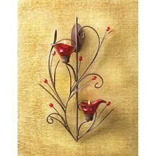 red flower floral modern art statue tea-light metal wall sconce Candle Holder