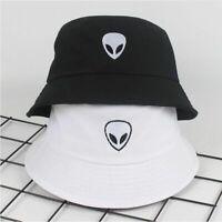 Black White Alien Bucket Hat Unisex Men Women Summer Panama Cap Beach Hat