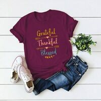 Women Grateful Thankful Blessed Top Short Sleeve Funny Casual Tee Blouse T-Shirt