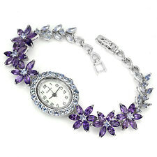 Sterling Silver 925 Genuine Natural Amethyst & Tanzanite Watch 7.5 Inch