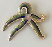 Vintage cloisonne Starfish  Cloisonne  brooch pin in enamel on metal