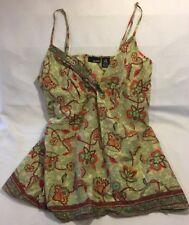 A.N.A. Girls Green 100% Cotton PaiSley Tank Top Cami Size Large