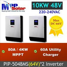 10kw solar inverter + dual 80A mppt solar charger + dual battery charger system