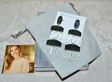 Kendra Scott Emmett Chandelier Drop Clear Stone Earrings Silver Plated