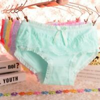 Women Lace Bow Panties Lady Cotton Lingerie Brief Lace Ruffled Underwear Knicker