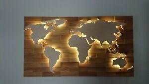 "Weltkarte aus Holz  - ""Eiche"" - LED RGB Beleuchtung"