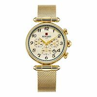 Women's Fashion Quartz Watch Multifunction Stainless Steel Mesh Band Gold Dial