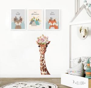 Cartoon Wreath Flower Giraffe Wall Sticker Home Living Room Art Wall Decor