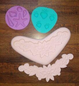 Lace flower Shells Silicone Bundle Fondant Mold Chocolate Decorating Resin