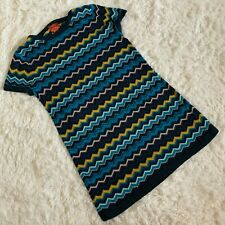 Missoni For Target Blue Multi Zig Zag Chevron Sweater Dress Size L