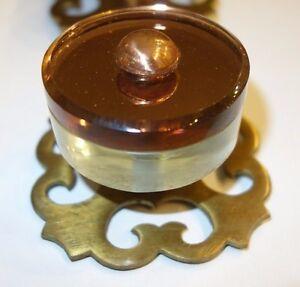 4 Very Rare Hollywood Regency Glass Pulls w/ Brass & Copper Embellishments