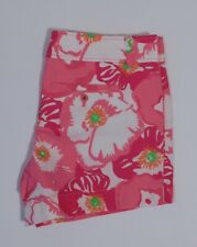 LILLY PULITZER Women's Fuchsia Pink Floral Print Cotton Flat Front Short Sz 8