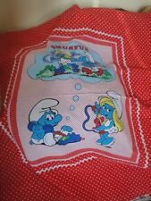 VINTAGE SMURF SEWING CRIB QUILT PANEL ORIGINAL 1982 BRAND NEW W SMURFETTE